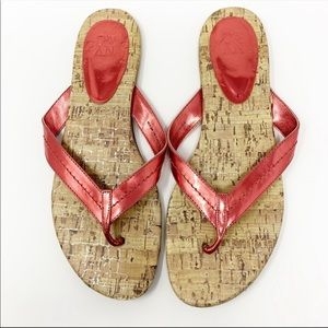 New York & Company Metallic Pink Flip Flop Sandals
